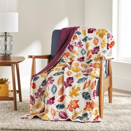 "Better Homes & Gardens Oversized Velvet Plush Throw Blanket, 50"" x 70"", Fall Leaves"