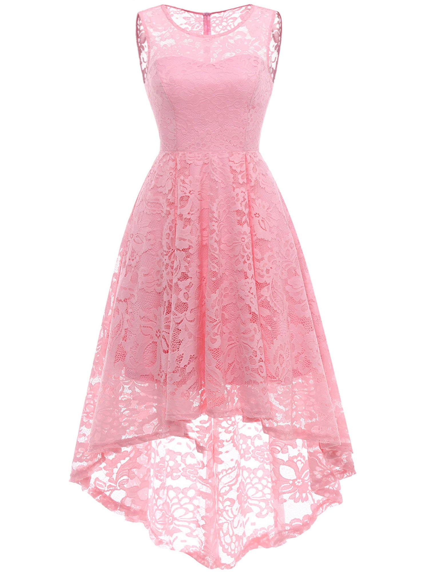 Womens Black Evening Dress Lace Layout Hi-lo Maxi Prom Dresses