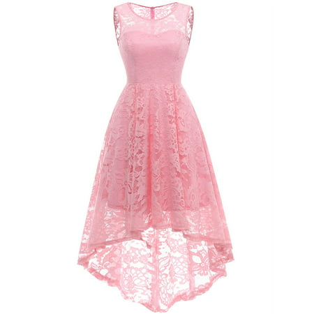 Market In The Box Women's Vintage Floral Lace Sleeveless Hi-Lo Cocktail Formal Swing Dress