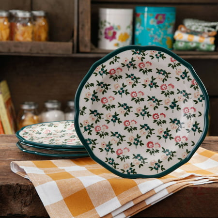 The Pioneer Woman Fall Flowers Salad Plate Set, 4-Pack - Women Laughing Alone With Salad Halloween