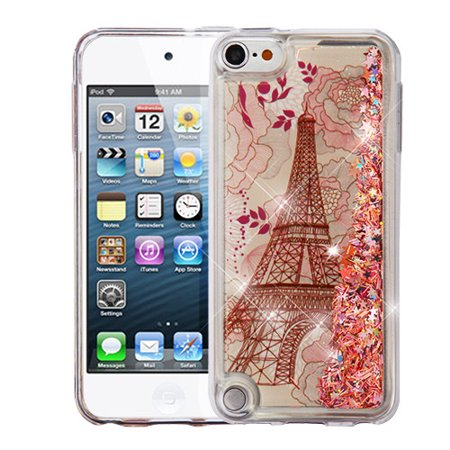 Valor Quicksand Glitter Eiffel Tower Hard Plastic/Soft TPU Rubber Case For Apple iPod Touch 5th Gen/6th Gen - Rose Gold ()