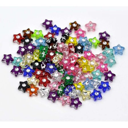 500 Mixed Acrylic Star Spacer, Loose Beads, with Rhinestone 8mm Sold Per Pack of 500](Plastic Star Beads)