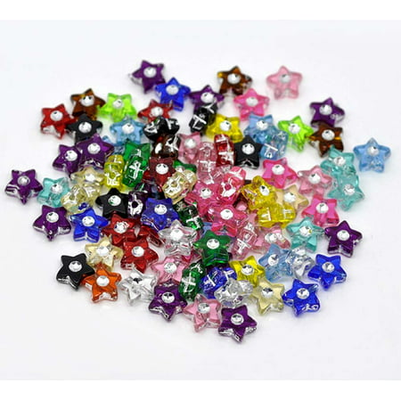 500 Mixed Acrylic Star Spacer, Loose Beads, with Rhinestone 8mm Sold Per Pack of 500