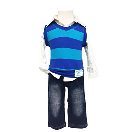 261a32f8a32 StylesILove - Baby Kids Boy Blue Striped Vest Shirt and Jeans (2-3 Years) -  Walmart.com