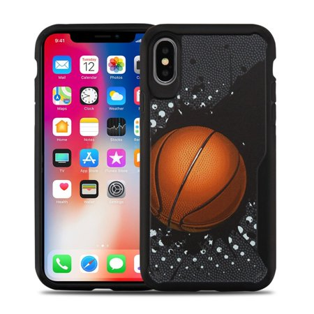 iPhone X Case iPhone XS Case by Insten Vista Slam Dunk Dual Layer [Shock Absorbing] Hybrid Hard Plastic/Soft TPU Rubber Clear Case Cover For Apple iPhone X/XS, Black - image 4 of 4