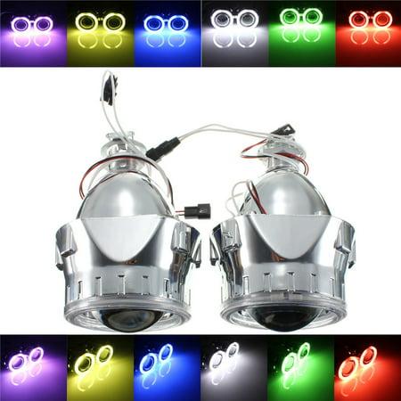 2 Packs 2.5inch Car Vehicle Bi-Xenon Hi/Lo HID Projector Kit Conversion Lens Angel Eye CCFL Halo Lamp Bulb
