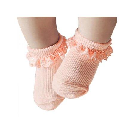 Infant Ruffle Socks - Lavaport Newborn Baby Lovely Solid Lace Ruffle Frilly Socks Anti-slip Socks