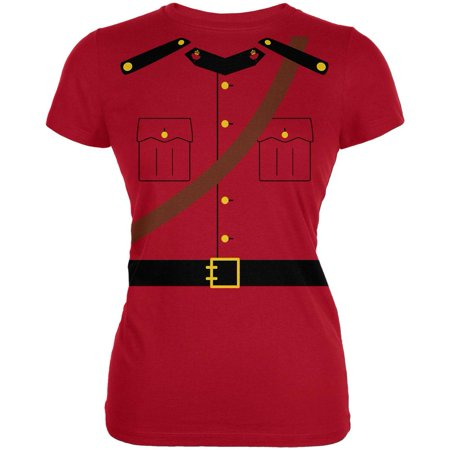 Adult Costumes Canada (Halloween Canadian Mountie Police Costume Juniors Soft T Shirt Red)
