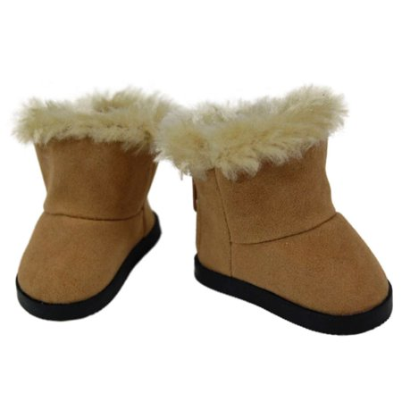 """18"""" Doll Shoes Clothing Accessory for 18"""" Dolls, High Quality Sherpa Style Boot & Shoe Box"""