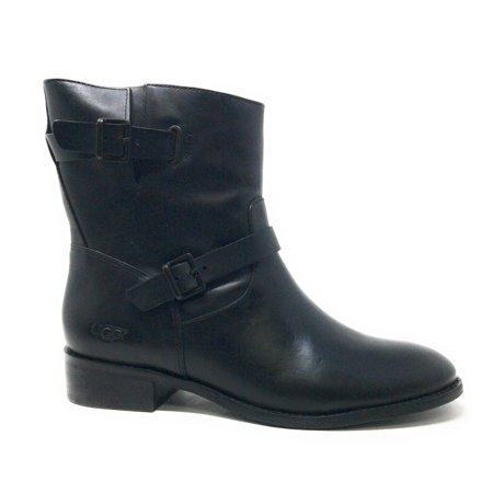 UGG Womens Fletcher Motorcycle Short Boot Water Resistant Black Leather Size 6 ()