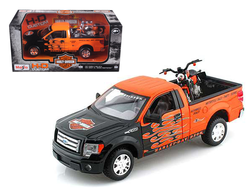 2010 Ford F-150 STX Pickup 1 27 Orange with Flames & 2007 XL1200N Nightster Harley... by Maisto