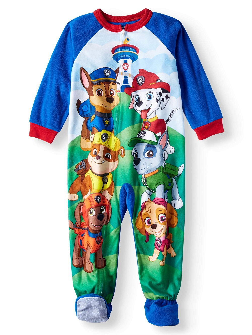 AME Paw Patrol Toddler Footed Pajamas Blanket Sleeper (3t, All Gang-Blue)