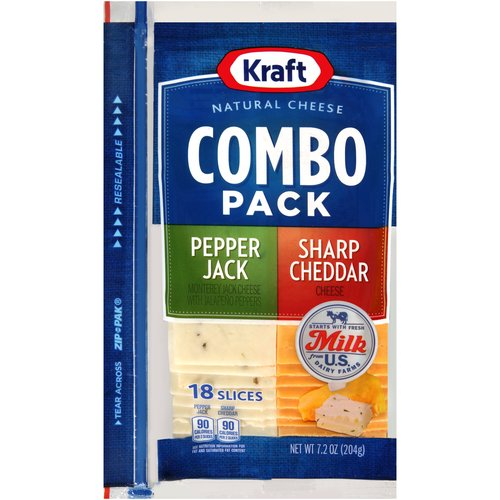 Kraft Natural Cheese Combo Pack Pepper Jack/Sharp Cheddar Cheese Slices, 18 count, 7.2 oz