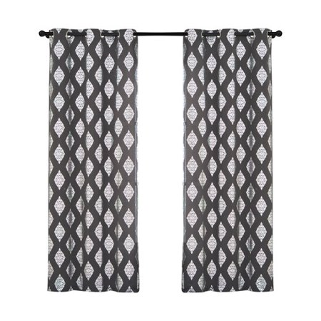 Vcny Home Geometric Medallion Printed Sorrento Grommet Top Window Curtains  Set Of 2  Multiple Colors And Sizes Available