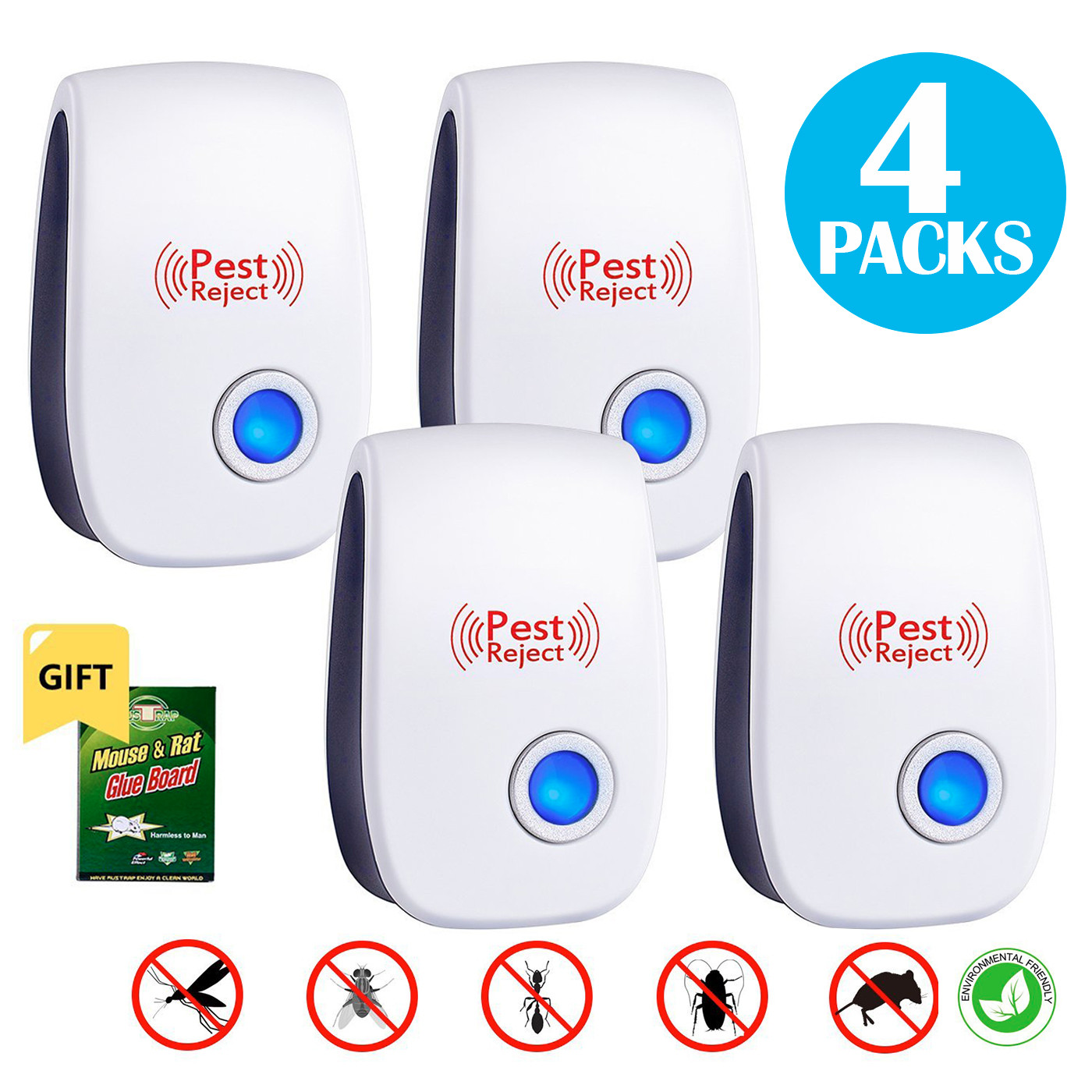Oak Leaf Pest Control Ultrasonic Repeller, Set of 4 Electronic Plug In Repellent with Nightlight for Insects and Rodents, Mice, Mosquitoes, Spiders, Ants, Rats, Roaches, Bugs, Non-toxic,Black Friday