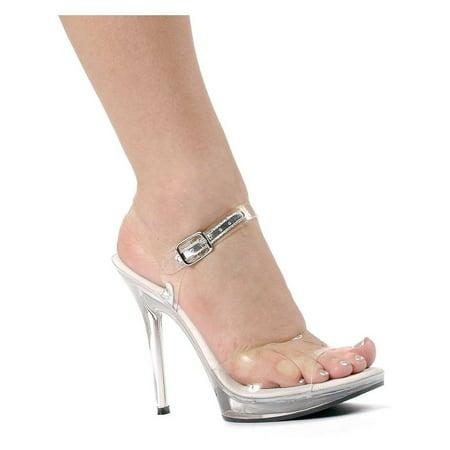 Ellie Shoes E-502-Brook 5 Heel Clear Sandal 9 / Clear - Shoes By Ellie