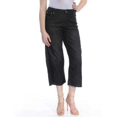 RALPH LAUREN Womens Black Frayed Wide Leg Jeans  Size: 4