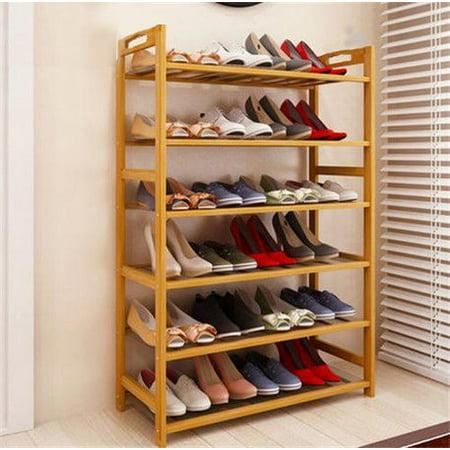 (Zimtown 6 Tier Natural Wood Bamboo Shelf Entryway Storage Shoe Rack Home Furniture)
