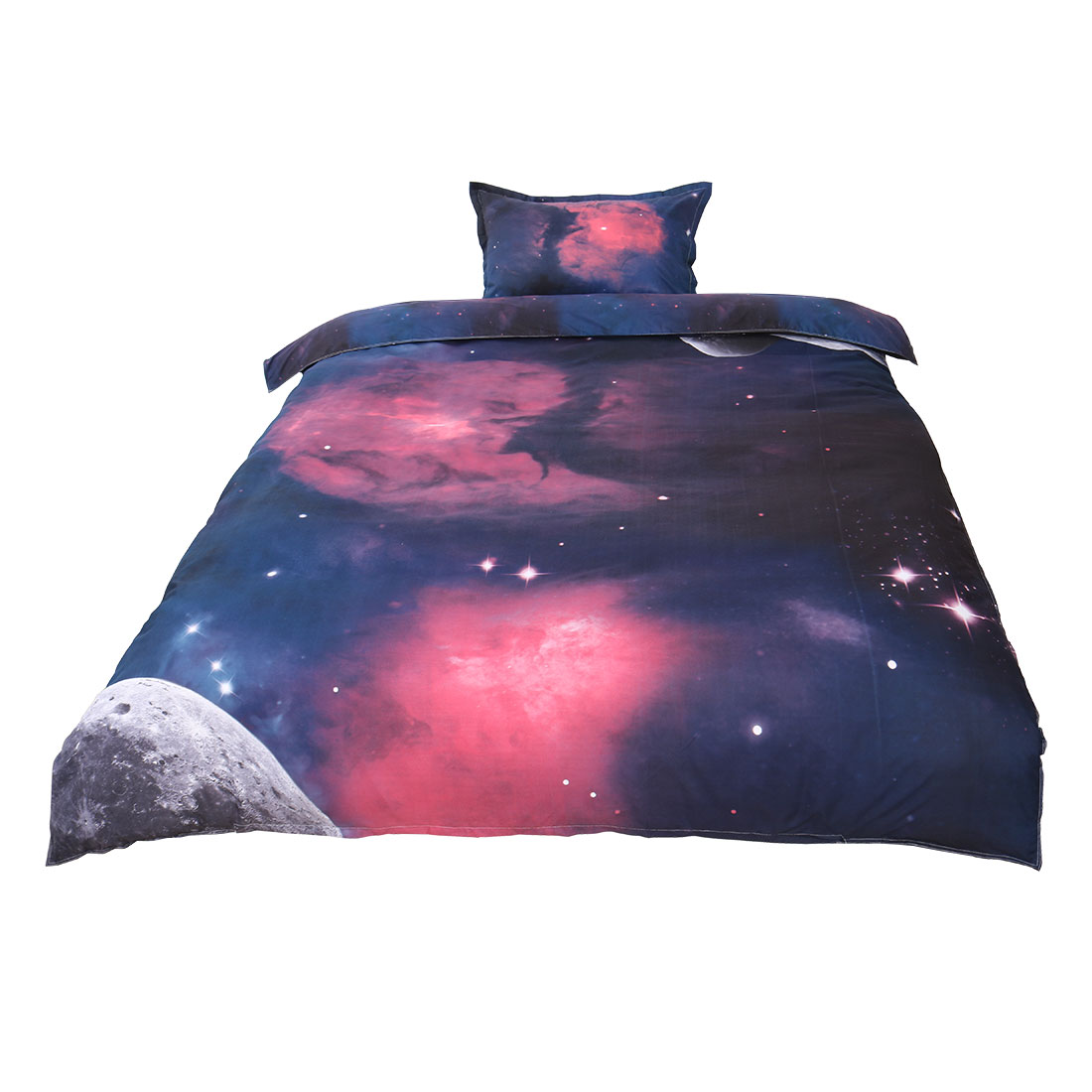PiccoCasa Galaxy Sky Cosmos Night Pattern 3D Printed Single Size 2pcs Bedding Quilt Duvet Cover Fuchsia