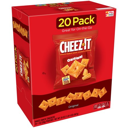 Cheez-It Baked Snack Cheese Crackers, Original, 1 oz Bags 20 Ct