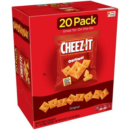 Cheez-It Baked Snack Cheese Crackers, Original, 1 oz Bags 20 Ct - Top 20 Halloween Snacks
