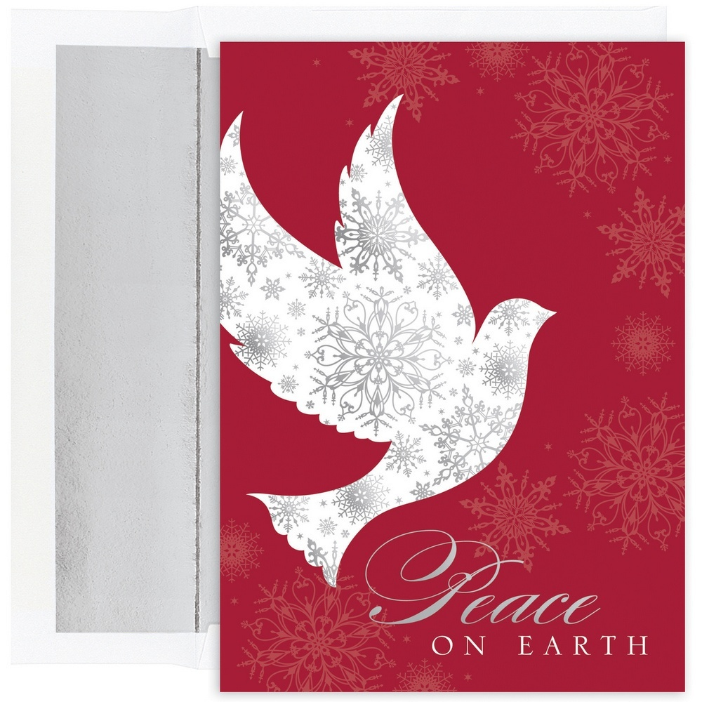 JAM Paper Christmas Card Set, Snowflake Peace Dove Holiday Cards, 16 Cards & Envelopes/Pack
