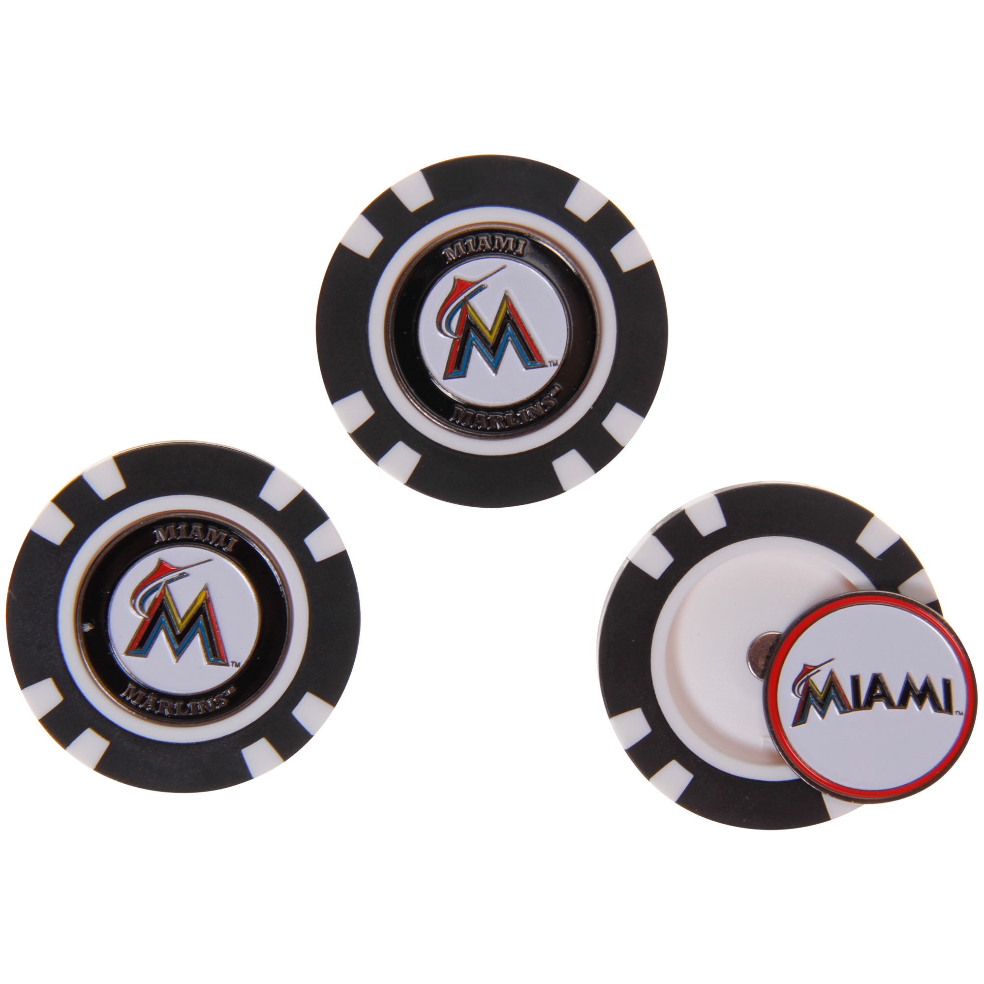 Miami Marlins 3-Pack Poker Chip Golf Ball Markers - No Size