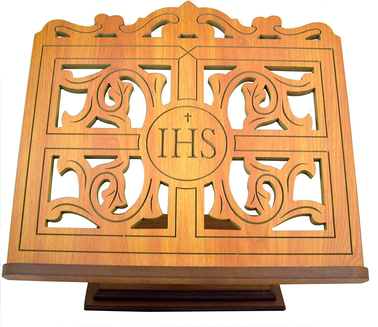Carved Wood IHS Bible or Book Display Stand with Ledge, Oak, 14 Inch by