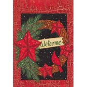 """Cardinal Wreath Welcome Red Star Winter House Flag Starry Night 28""""x40"""""""