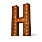 Trekshops Indoor/ Outdoor Rusted Steel Alphabet Letter 'H' Iconic Profession/Commercial MarqueeLight