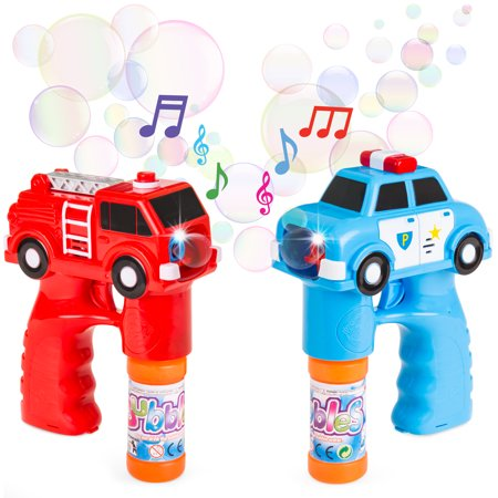 Best Choice Products 2-Piece Kids Bubble Blower Gun Blaster Fire Truck Police Car Toys w/ LED Flashing Lights, Sounds, 4 Bubble Solution Bottles - Multicolor