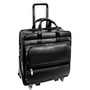 McKlein FRANKLIN, Patented Detachable Wheeled Laptop Briefcase, Top Grain Cowhide Leather, Black (86445)