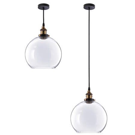 "Yescom Vintage Industrial 9.8"" Ball Shape Glass Ceiling Light Pendant Light Edison Lamp for Cafe Kitchen Clear"