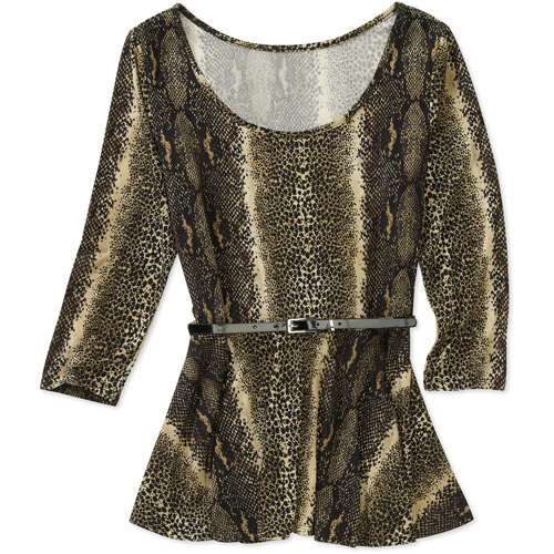 Womens Belted Lace Peplum Top
