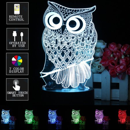 3D LED Night Light Owl Animal 7 Color Change Table Desk Lamp Touch Switch with Remote Controller Christmas Gift](Animal Table)