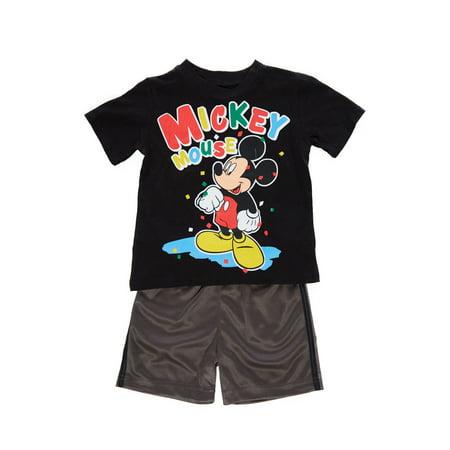 Boys Kids Disney Mickey Mouse Print Top+Comfy Active Shorts Set MICKEY