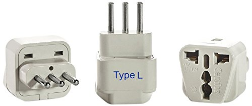 Ceptics Type L Grounded Universal Plug Adapter Converter for Italy Pack of 3