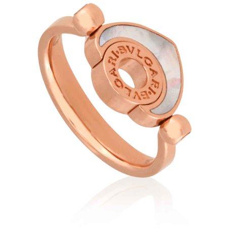 Bvlgari Bvlgari Cuore 18K Rose Gold Mother of Pearl Ring - Size 53
