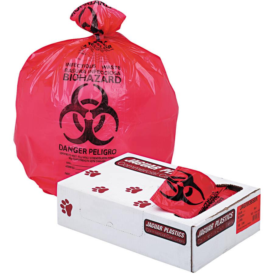 Jaguar Plastics Health Care Biohazard Printed Liners, Red, 100 count