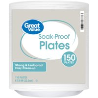 "Great Value Soak-Proof Foam Lunch Plates, 8 7/8"", 150 Count"