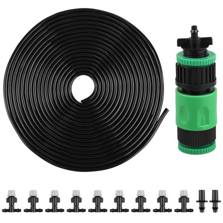 "33FT(10m) Mist Irrigation Kits Accessories Plant Watering System with 1/4"" Blank Distribution Tubing Hose,10pcs Mister Nozzles, for Patio Garden Greenhouse Plant Watering ()"