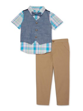 Wonder Nation Baby & Toddler Boys Woven Shirt, Vest, Khaki Pants & Bowtie, 4-Piece Dressy Easter Outfit Set (Sizes NB-5T)