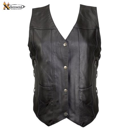- Xelement B26675 Womens Black 10 Pocket Cowhide Leather Motorcycle Vest