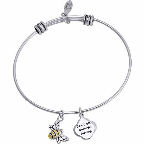 "Connections from Hallmark Stainless Steel ""Can't get enough honey"" and Bumblebee Multi-Charm Bangle"