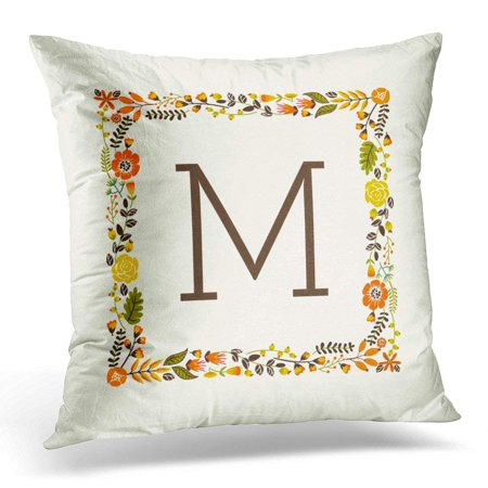 BPBOP Brown Thanksgiving Monogram Fall Floral Border Orange Green Monogrammed Pillowcase Cover 18x18 inch - Fall Border