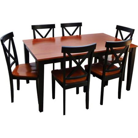 cross back 7 piece dining set black and cherry. Black Bedroom Furniture Sets. Home Design Ideas