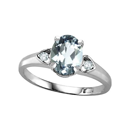 8x6 Oval Ring - Star K Oval 8x6 Genuine Aquamarine Love Promise Ring