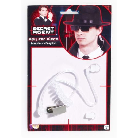 Spy Secret Agent Earpiece Detective Security Guard Ear Piece Costume Accessory (White Cat Ears Costume)
