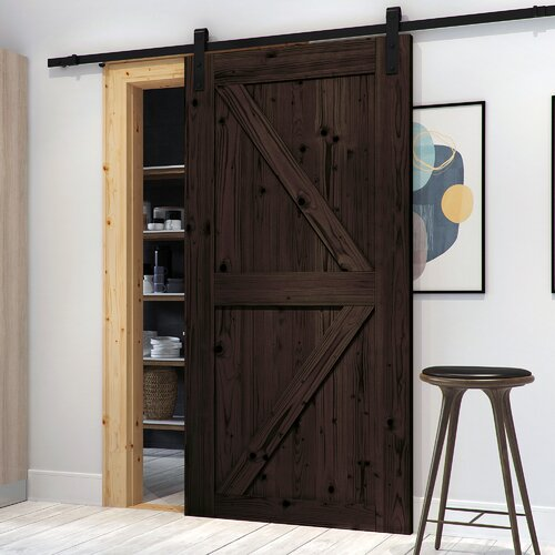 Northbeam Paneled Wood Finish Northbeam Barn Door with Installation Hardware Kit