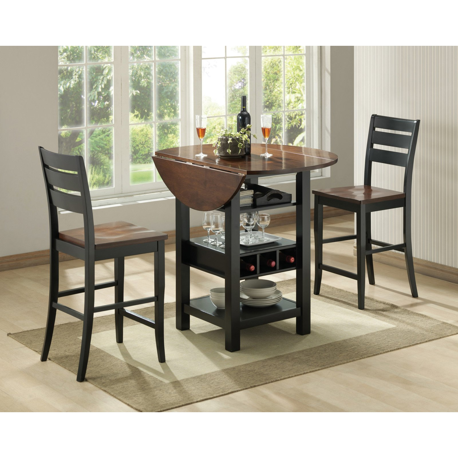Sunset Trading Quincy 3 Piece Black U0026amp; Cherry Pub Table Set